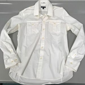 Express L 16 161/2 Fitted White Button Down Shirt